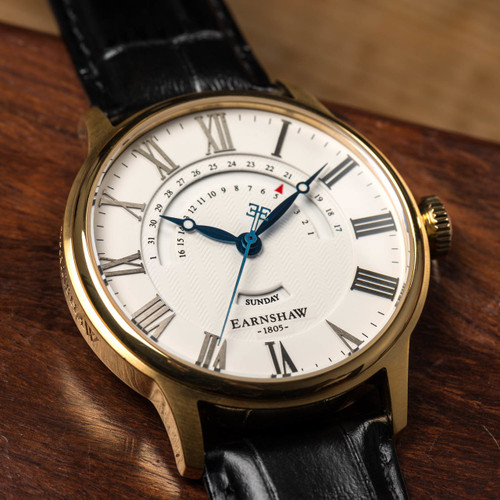 Thomas Earnshaw Cornwall Retrograde Register Day Date Gold Black (ES-8077-03)
