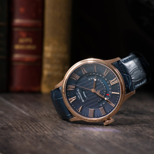 Thomas Earnshaw Cornwall Retrograde Register Day Date Rose Gold Blue (ES-8077-04)