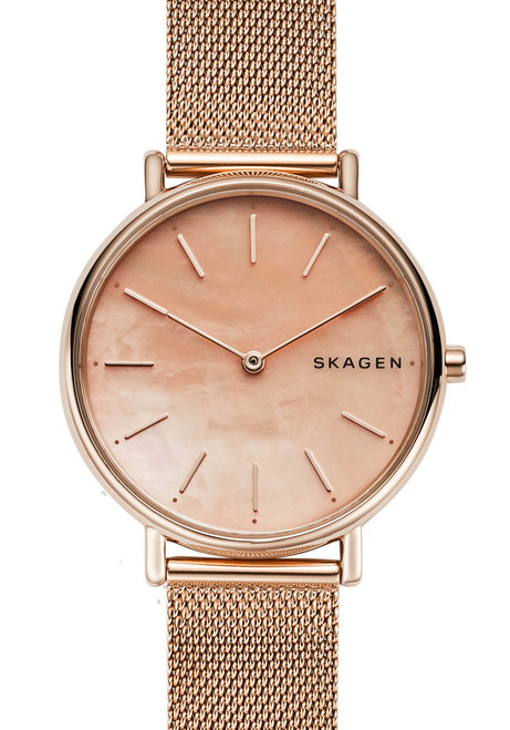 5918c3091 Skagen Signatur Slim Rose Gold Mother of Pearl Mesh | Watches.com