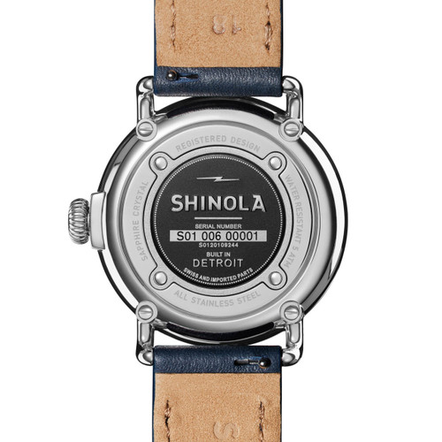 Shinola Runwell 36mm Double Wrap Blue Silver (S0120109244)