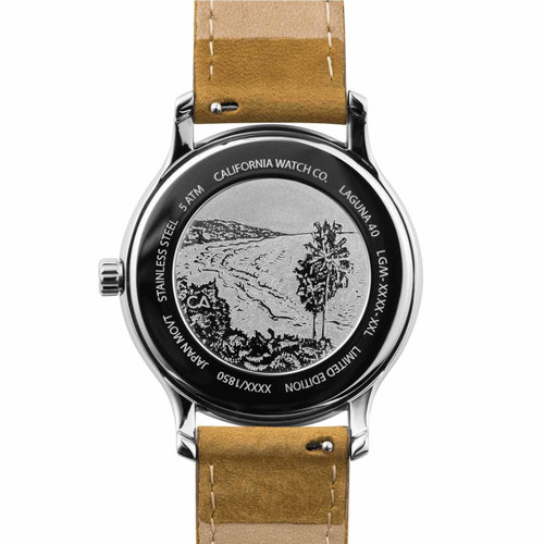 California Watch Co. Laguna Leather Sand Navy (LGM-1171-12L) caseback etching beach