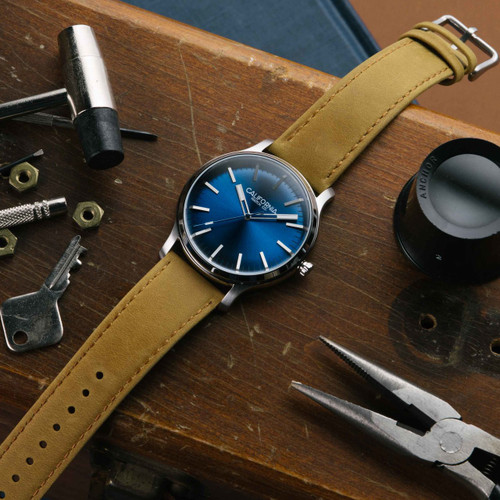 California Watch Co. Laguna Leather Sand Navy (LGM-1171-12L)