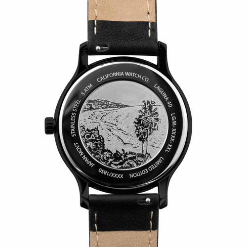 California Watch Co. Laguna Leather All Black Gold (LGM-3335-03L) case back etching beach