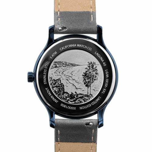California Watch Co. Laguna Leather Deep Blue Gray (LGM-7772-11L) case back etching beach