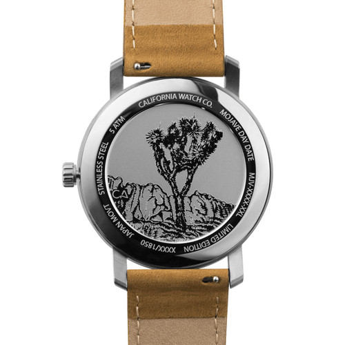 California Watch Co. Mojave Leather Sand White (MJV-1101-12L) caseback etched joshua tree