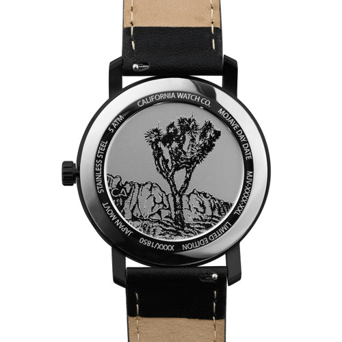 California Watch Co. Mojave Leather Silver Black Smoke (MJV-1139-03L) caseback etched joshua tree