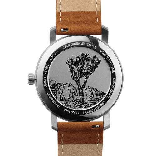 California Watch Co. Mojave Leather Brown Navy (MJV-1171-21L) caseback etched joshua tree