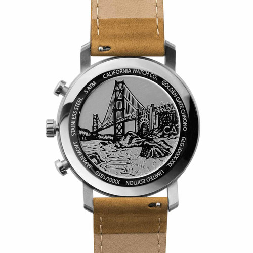 California Watch Co. Golden Gate Chrono Leather Sand Navy (GLG-1171-12L) case back etching bridge