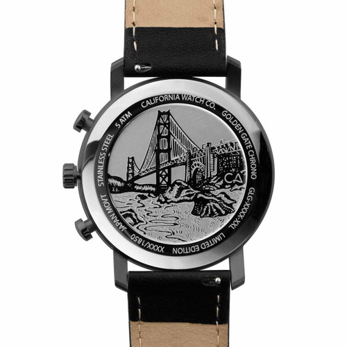 California Watch Co. Golden Gate Chrono Leather Gunmetal Red (GLG-2238-03L) case back etching bridge