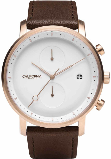 California Watch Co. Golden Gate Chrono Leather Rose Gold White (GLG-4404-13L)
