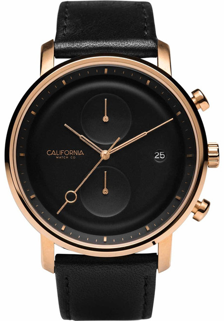 California Watch Co. Golden Gate Chrono Leather Rose Gold Black (GLG-4434-03L)