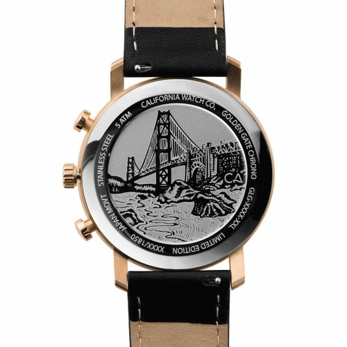 California Watch Co. Golden Gate Chrono Leather Rose Gold Black (GLG-4434-03L) case back etching bridge