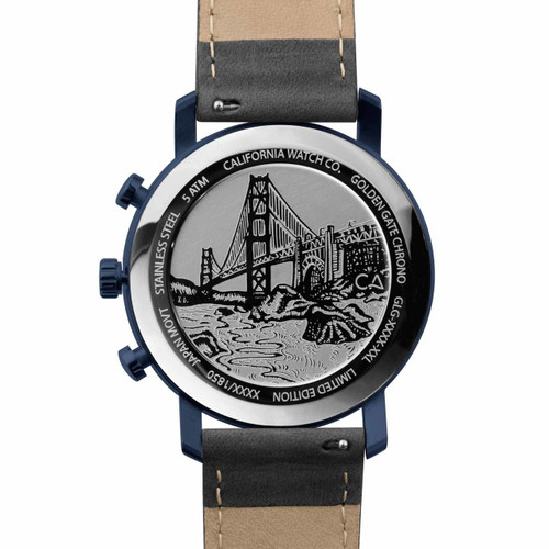 California Watch Co. Golden Gate Chrono Leather Deep Blue Gray (GLG-7772-11L) case back etching bridge