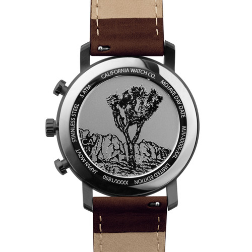 California Watch Co. Mojave Leather Dark Brown Green (MJV-2299-13L) caseback etched joshua tree