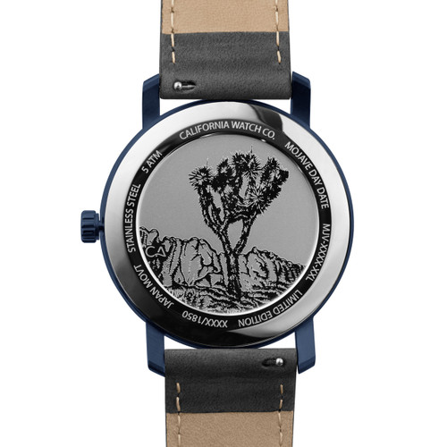 California Watch Co. Mojave Leather Deep Blue Gray (MJV-7772-11L) caseback etched joshua tree