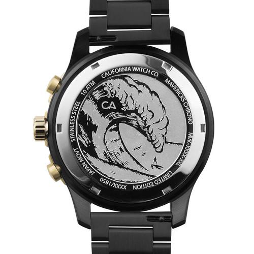 California Watch Co. Mavericks Chrono SS All Black Gold (MVK-3535-03B) case back etching surf wave