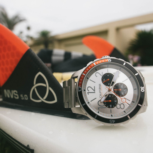 California Watch Co. Mavericks Chrono SS Silver Orange (MVK-1119-01B)