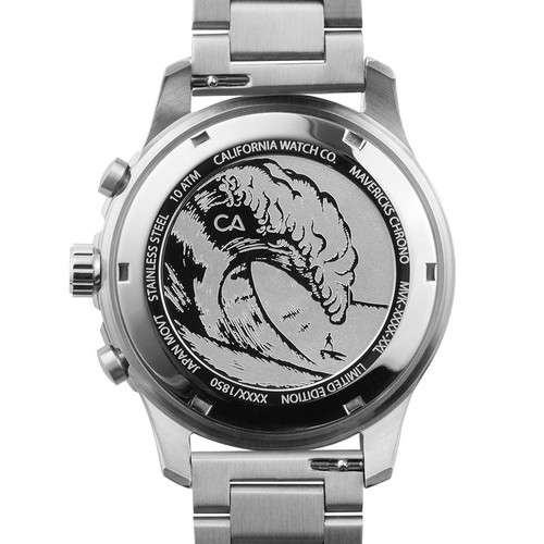 California Watch Co. Mavericks Chrono SS Silver Black (MVK-1131-01B) case back etching surf wave
