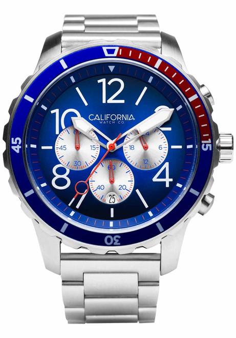 California Watch Co. Mavericks Chrono SS Navy Red (MVK-1178-01B)