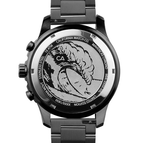 California Watch Co. Mavericks Chrono SS All Gunmetal (MVK-2223-02B) case back etching surf wave