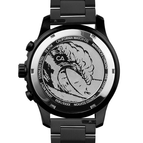 California Watch Co. Mavericks Chrono SS All Black Red (MVK-3338-03B) case back etching surf wave