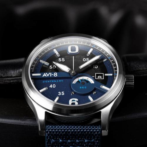 AVI-8 Flyboy Centenary Automatic AV-4061-02 Blue Silver (AV-4061-02)