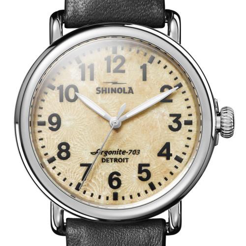 Shinola Petoskey Stone Runwell 41mm Silver Black (S0120121831)