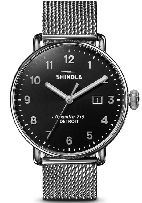 Shinola Canfield 43mm Silver Black Mesh (S0120121830)