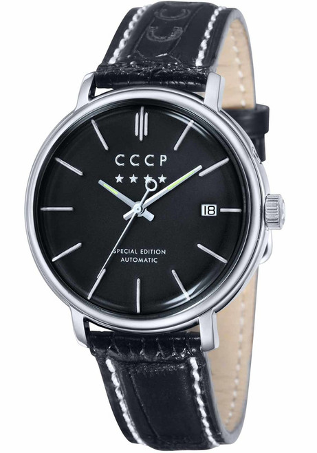 CCCP Heritage Automatic Leather Silver Black (CP-7019-01) front