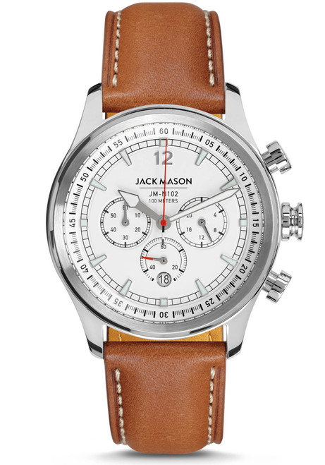 Jack Mason Nautical Chronograph White Tan (JM-N102-018) front