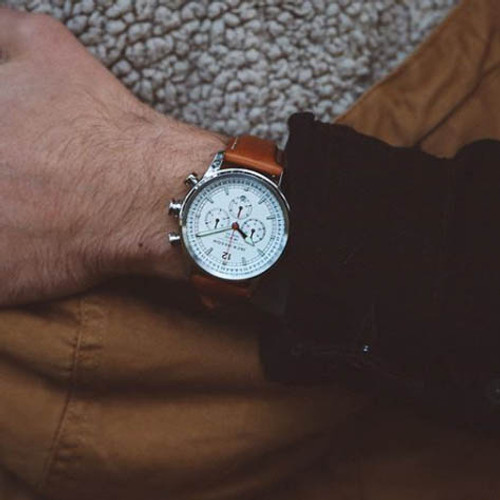 Jack Mason Nautical Chronograph White Tan (JM-N102-018) wrist