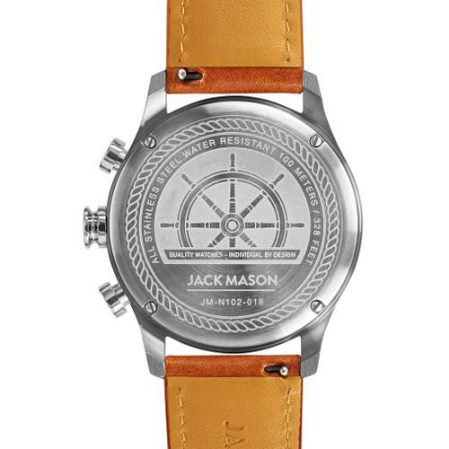 Jack Mason Nautical Chronograph White Tan (JM-N102-018) caseback