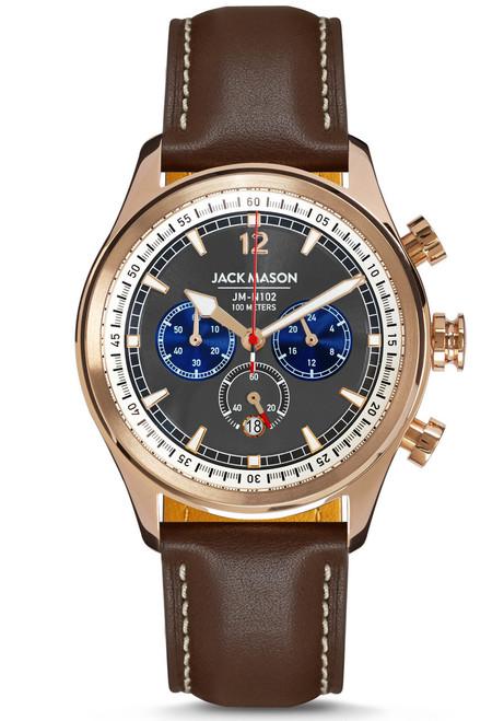 Jack Mason Nautical Chronograph Rose Gold Brown (JM-N102-026) front
