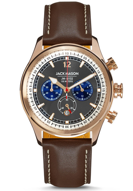 Jack Mason Nautical Chronograph Rose Gold Brown (JM-N102-026) front