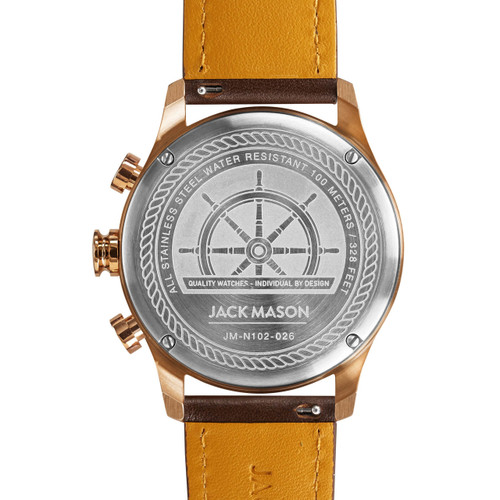 Jack Mason Nautical Chronograph Rose Gold Brown (JM-N102-026) caseback