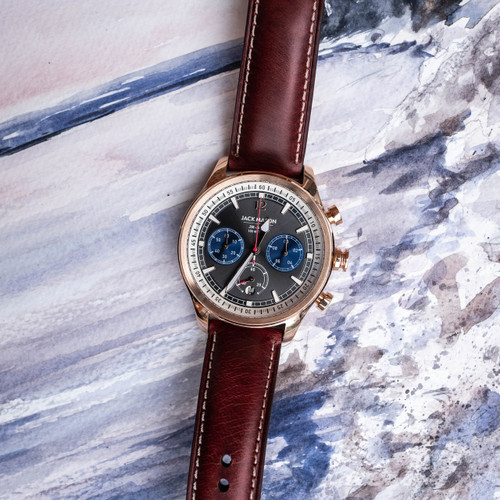Jack Mason Nautical Chronograph Rose Gold Brown (JM-N102-026) layflat
