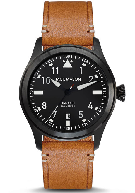 Jack Mason Aviation Black Tan (JM-A101-005) front