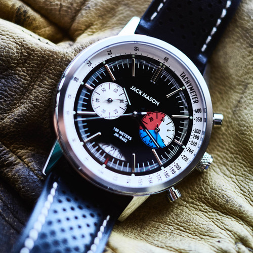 Jack Mason Racing Chronograph Leather Black (JM-R402-003) up close