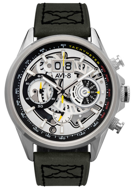 AVI-8 Hawker Harrier II Matador Chronograph Silver Green (AV-4065-01) front