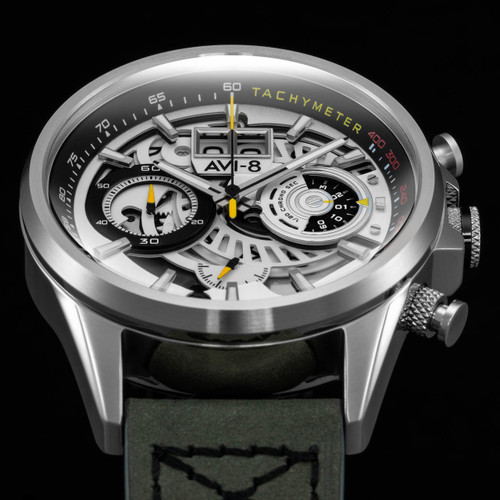 AVI-8 Hawker Harrier II Matador Chronograph Silver Green (AV-4065-01) hero