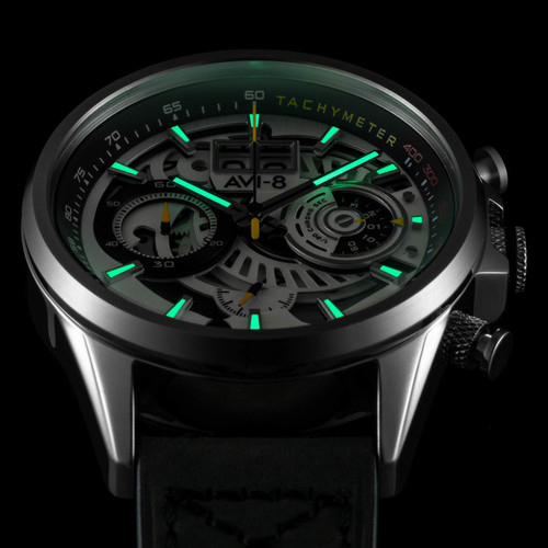 AVI-8 Hawker Harrier II Matador Chronograph Silver Green (AV-4065-01) lume