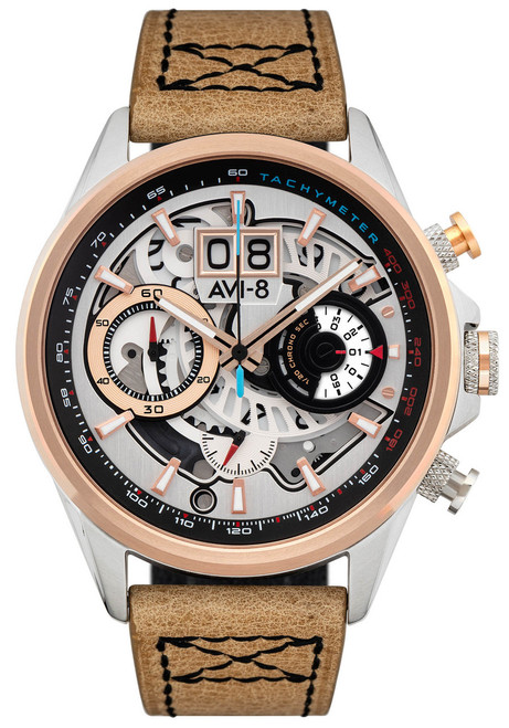 AVI-8 Hawker Harrier II Matador Chronograph Silver Brown (AV-4065-02) front