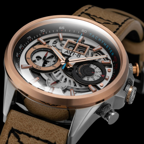 AVI-8 Hawker Harrier II Matador Chronograph Silver Brown (AV-4065-02) full