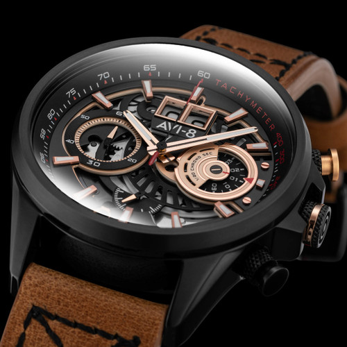 AVI-8 Hawker Harrier II Matador Chronograph Black Brown (AV-4065-03) full