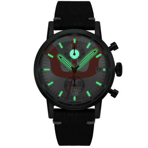 Undone Ultraman Chronograph Limited Edition All Black (UNUCLB) front lume