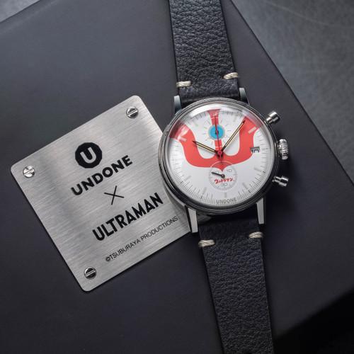 Undone Ultraman Chronograph Limited Edition Silver Black (UNUCLSB) front on box