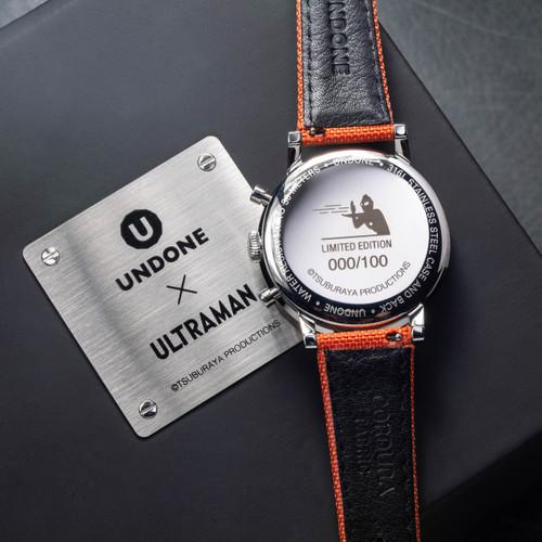 Undone Ultraman Chronograph Limited Edition Silver Orange (UNUCLSO) caseback