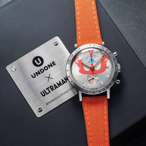Undone Ultraman Chronograph Limited Edition Silver Orange (UNUCLSO) front box