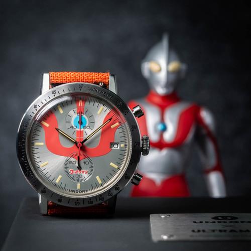Undone Ultraman Chronograph Limited Edition Silver Orange (UNUCLSO) watch action figure