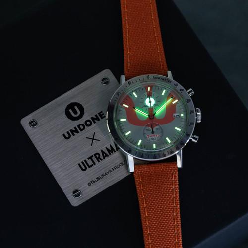 Undone Ultraman Chronograph Limited Edition Silver Orange (UNUCLSO) box lume